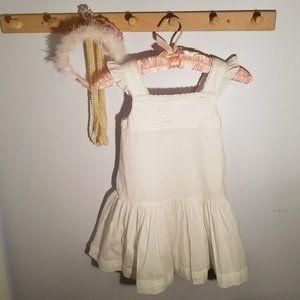 Petit Bateau Size 6 Solid White Cotton Sun Dress